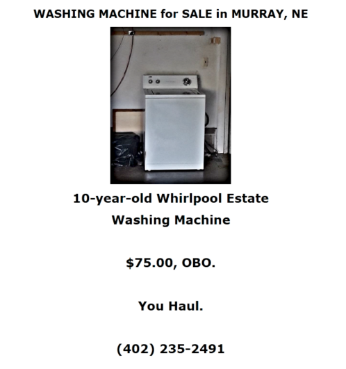 2018 08 22 Washer for Sale 1