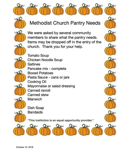 Pantry Needs Oct 10