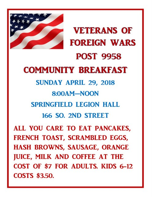 VFW Breakfast April