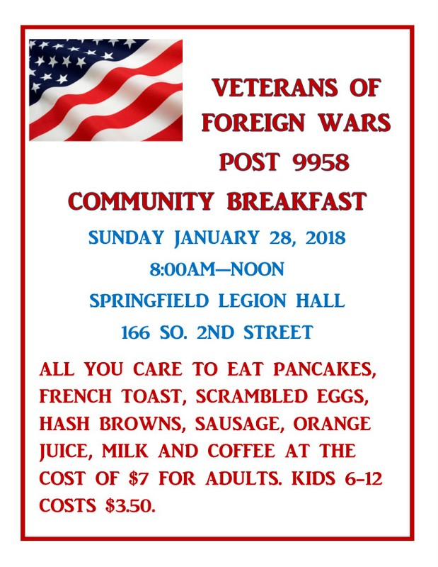 VFW Breakfast Jan