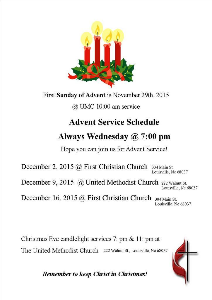 Advent Service schedule 2015