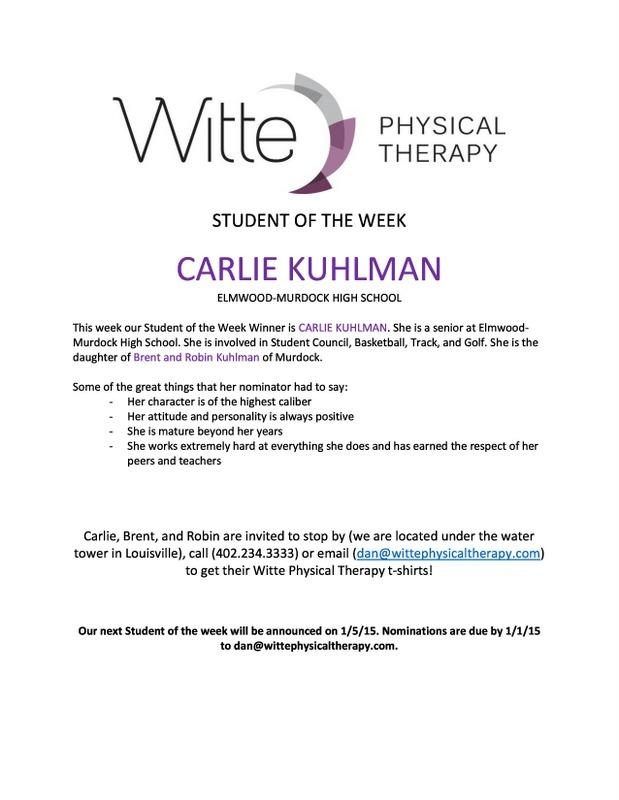 Student of the Week Carlie