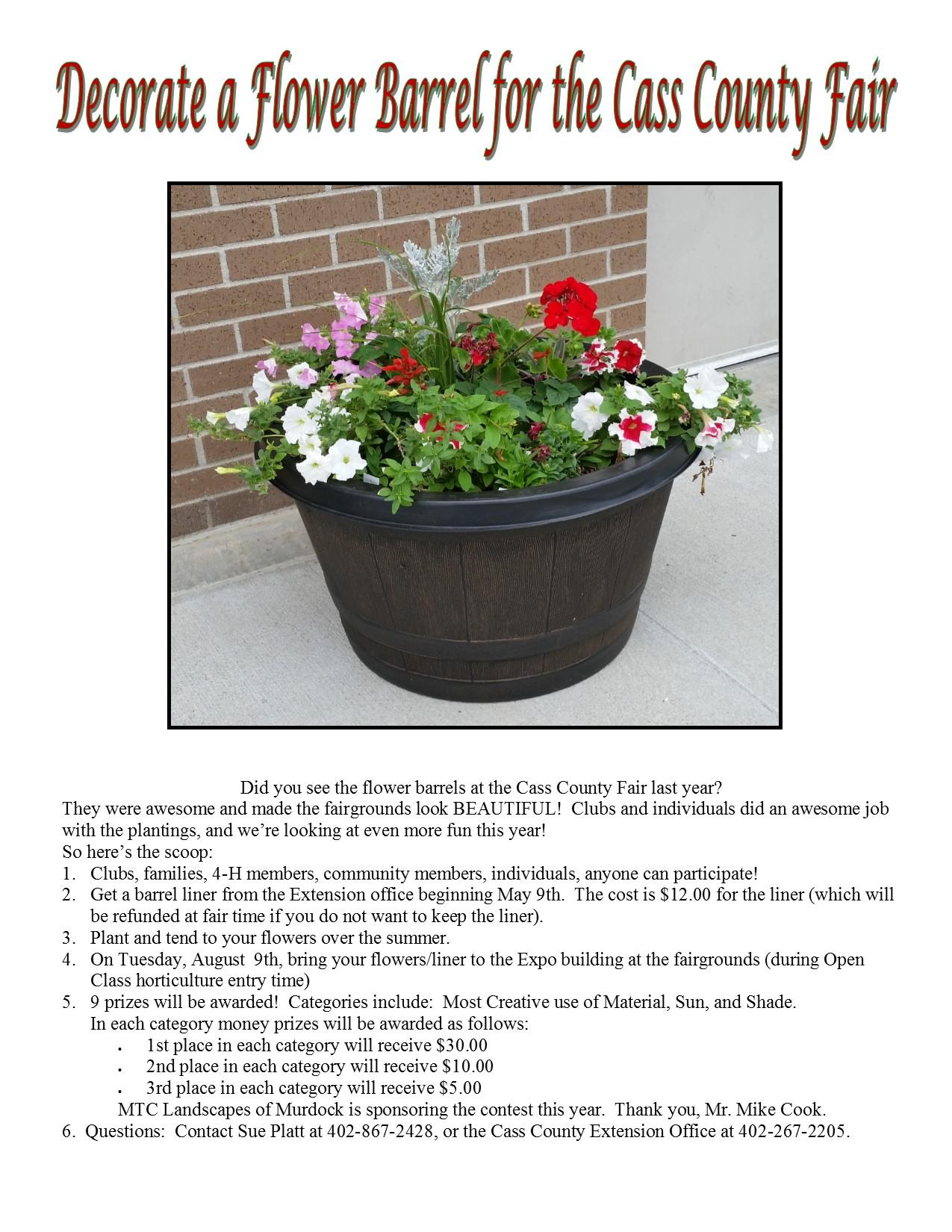 2016 Decorate a flower barrel for the Cass County Fair