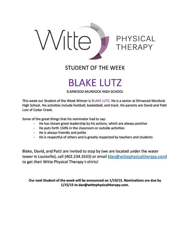 Student of the Week Lutz